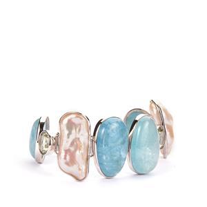 Aquamarine, Baroque Cultured Pearl Sarah Bennett Bracelet with Prasiolite in Sterling Silver
