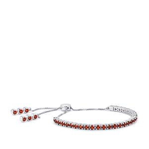 5.41ct Mozambique Garnet Sterling Silver Slider Bracelet