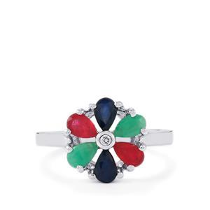 Madagascan Blue Sapphire, Malagasy Ruby, Carnaiba Brazilian Emerald & White Zircon Sterling Silver Ring ATGW 1.80cts (F)