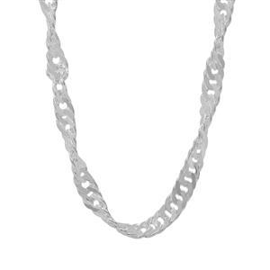 "34"" Sterling Silver Classico Diamond Cut Twisted Curb Chain 5.24g"