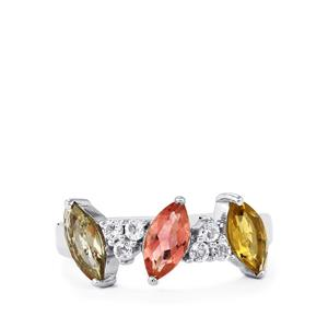 Rainbow Tourmaline Ring with White Topaz in Sterling Silver 1.73cts