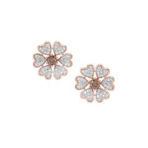 1.16ct Champagne & White Diamond 9K Rose Gold Earrings