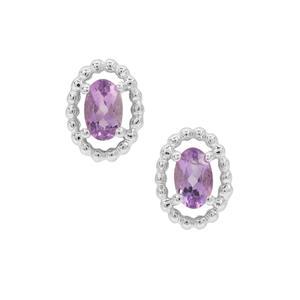 Rose du Maroc Amethyst Earrings in Sterling Silver 0.40ct