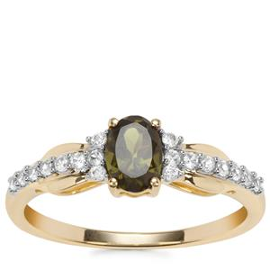 Chrome Tourmaline Ring with White Zircon in 9K Gold 0.73ct