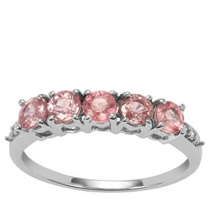 Padparadscha Sapphire Ring with Diamond in 10k White Gold 1.28cts