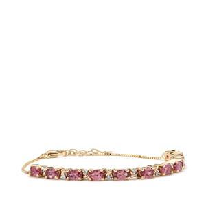 Mahenge Pink Spinel & Diamond 9K Gold Tomas Rae Bracelet ATGW 2.88cts
