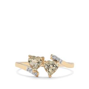Csarite® & Diamond 9K Gold Ring ATGW 1cts