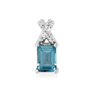 Electric Blue Topaz Pendant with White Topaz in Sterling Silver 1.27cts