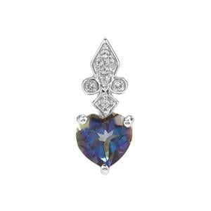 Mystic Blue Topaz Pendant with White Topaz in Sterling Silver 2.27cts