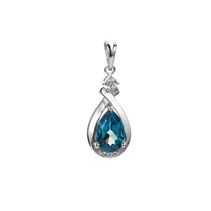 Ceylonese London Blue Topaz Pendant with White Zircon in Sterling Silver 1.81cts