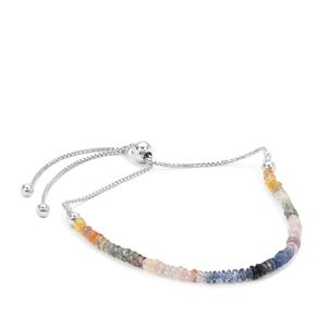Rainbow Sapphire Graduated Inspired By Colour Slider Bracelet in Sterling Silver 8cts