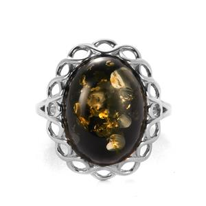 Baltic Green Amber Sterling Silver Ring (16x12mm)