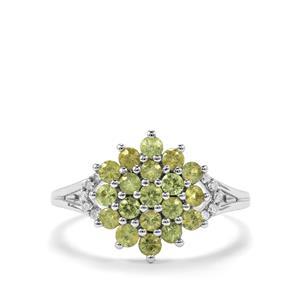 Ambanja Demantoid Garnet & Diamond 10K White Gold Ring ATGW 1.06cts