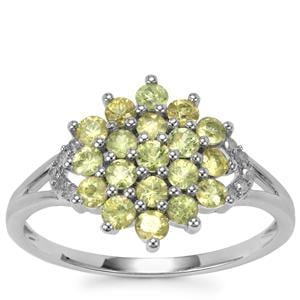 Ambanja Demantoid Garnet Ring with Diamond in 9K White Gold 1.06cts