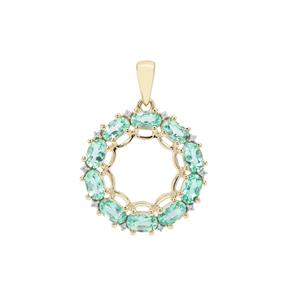 Aquaiba™ Beryl Pendant with White Zircon in 9K Gold 2.15cts