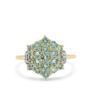 Aquaiba™ Beryl & Diamond 9K Gold Ring ATGW 1.09cts
