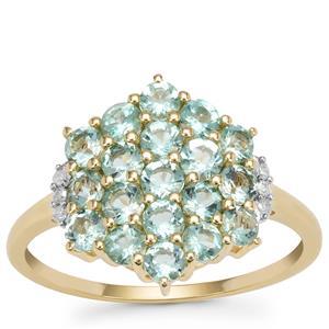 Aquaiba™ Beryl Ring with Diamond in 9K Gold 1.09cts