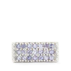 Tanzanite & Diamond Sterling Silver Ring ATGW 1.53cts