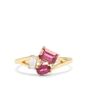 Comeria Garnet, White Zircon & Pink Sapphire 9K Gold Ring ATGW 1.24cts