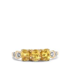 Ambilobe Sphene & Diamond 10K Gold Ring ATGW 1.13cts
