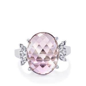 Rose De France Amethyst Ring with White Topaz in Sterling Silver 8.95cts