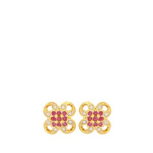 Ruby Earrings with Diamond in Gold Plated Sterling Silver 0.57ct
