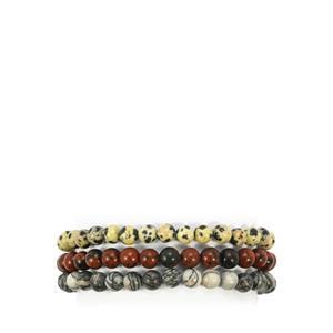 Calcite, Mahogany Obsidian & Feldspar Set of 3 Stretchable Bead Bracelet ATGW 150cts