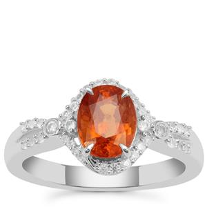 Mandarin Garnet Ring with White Zircon in Sterling Silver 2.29cts
