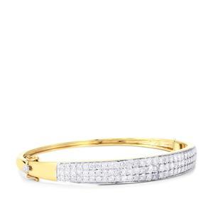 4ct Diamond 10K Gold Oval Bangle