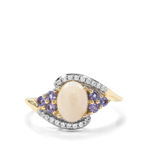 Coober Pedy Opal, Tanzanite & White Zircon 9K Gold Ring ATGW 1.13cts