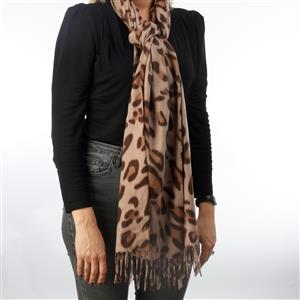 Destello Winter Leopard Print scarf - 01= Chocolate / 02= Grey