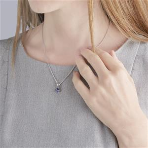 AA Tanzanite Slider Pendant Necklace in Sterling Silver 0.62ct