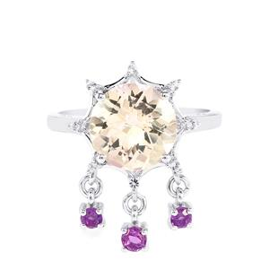 Rose De France, Ametista Amethyst & White Topaz Sterling Silver Ring ATGW 3.71cts