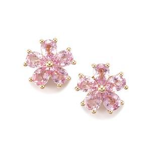 1.81ct Sakaraha Pink Sapphire 10K Gold Earrings