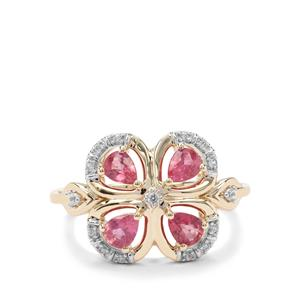 Padparadscha Sapphire & White Zircon 9K Gold Ring ATGW 1.02cts
