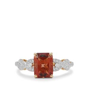 Oregon Cherry Sunstone Ring with Diamond in 18K Gold 2.15cts