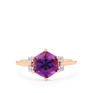 Moroccan Amethyst Polaris Ring with Diamond in 10k Rose Gold 2.50cts