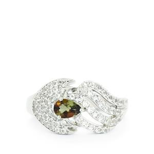 Gouveia Andalusite & White Topaz Sterling Silver Ring ATGW 1.27cts