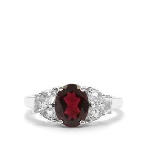 Octavian Garnet Ring with White Topaz in Sterling Silver 3.23cts