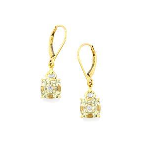 Lehrer TorusRing Prasiolite Earrings with Diamond in 10K Gold 3.16cts