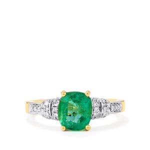 Zambian Emerald & Diamond 18K Gold Tomas Rae Ring MTGW 1.80cts