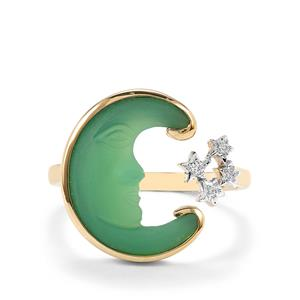Lehrer Man in the Moon Green Chalcedony Ring with Diamond in 10K Gold 3.73cts