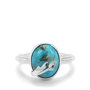 Bonita Blue Turquoise & White Zircon Sterling Silver Ring ATGW 4.90cts