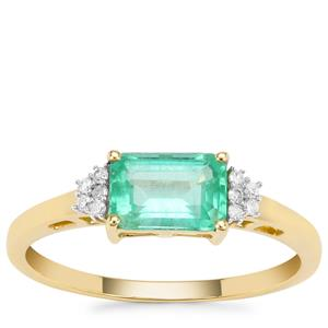 Ethiopian Emerald Ring with Diamond in 9K Gold 1.12cts