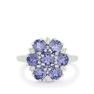 Orissa Iolite & White Topaz Sterling Silver Ring ATGW 2.04cts