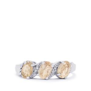 Zambezia Morganite & Diamond Sterling Silver Ring ATGW 1.26cts