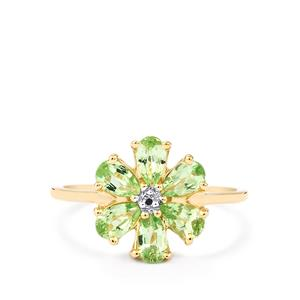 Merelani Mint Garnet & Diamond 10K Gold Ring ATGW 1.20cts