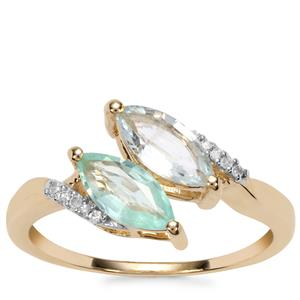 Paraiba Tourmaline Ring with Diamond in 10K Gold 1cts
