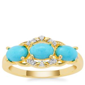 Sleeping Beauty Turquoise Ring with White Zircon in Gold Plated Sterling Silver 1.42cts