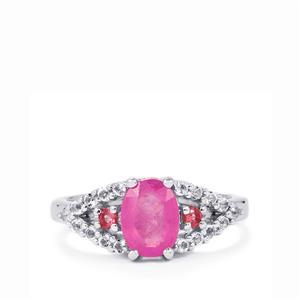 Ilakaka Hot Pink Sapphire, Pink Tourmaline & White Topaz Sterling Silver Ring ATGW 2.21cts (F)